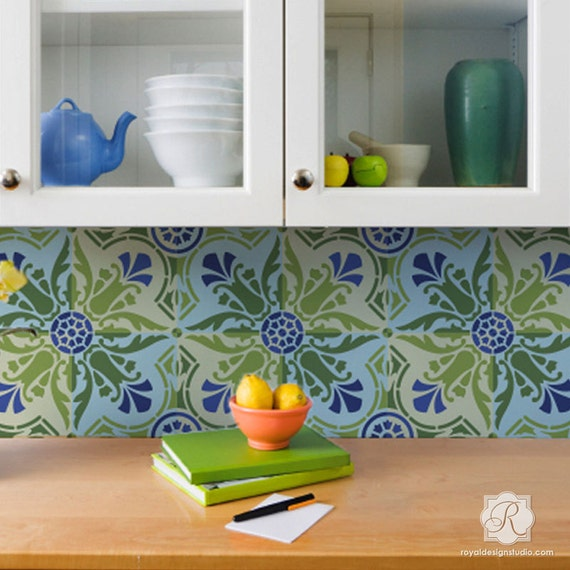 32 Painted Kitchen Wall Designs: Spanish Tile Stencil For DIY Kitchen Backsplash Pattern
