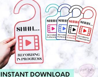 4-Pack Recording in Progress Printable Door Hanger   Blogger   PodCast   Vlog   Quiet Please   Going Live