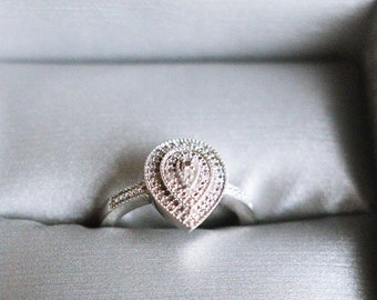 SIZE 6 Diamond Accent Beaded Teardrop Engagement Promise Ring in Sterling Silver