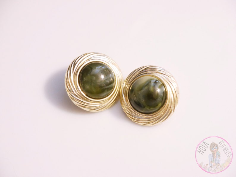 CLIP ON Earrings  Vintage Antique Circle Green & Light Gold image 0