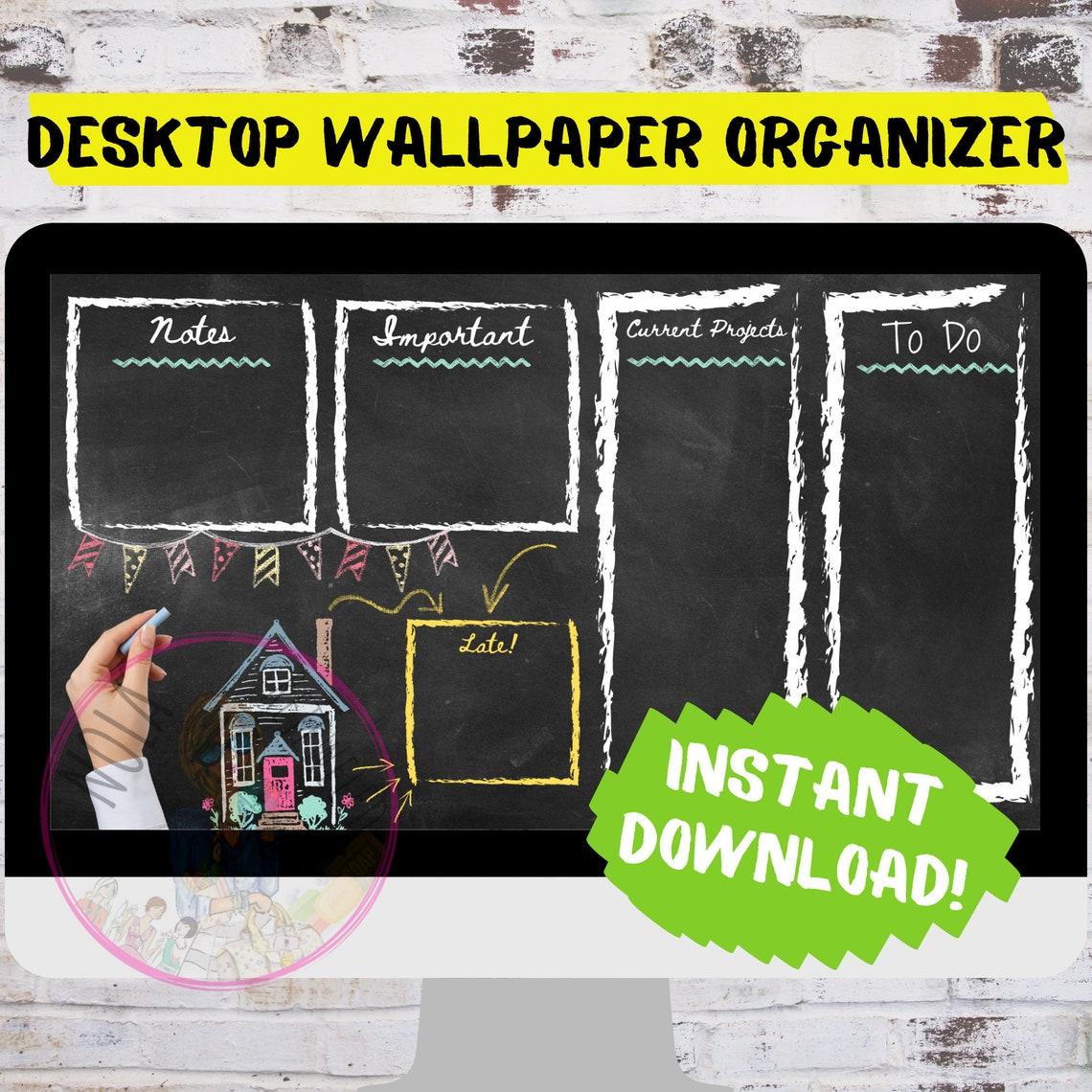 Chalkboard Desktop Organizer Wallpaper Desktop Notes Blogger image 0
