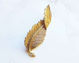 Recycled Vintage One of a Kind Signed Antique Silver Rhinestone Leaf Brooch   Unique Gifts