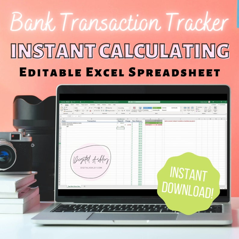 Customizable Banking Expense Income Tracking Excel Template  image 0