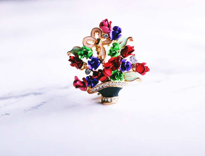 Vintage Rose Flower Rhinestone Plant Brooch Pin image 0
