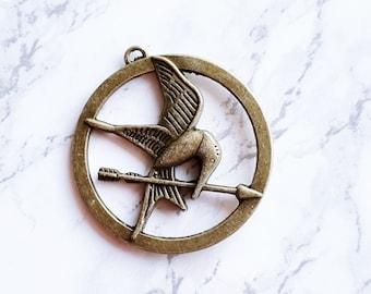 Hunger Games Mocking Jay BRONZE Symbol Pendant Bird Charm Mockingjay Movie Inspired
