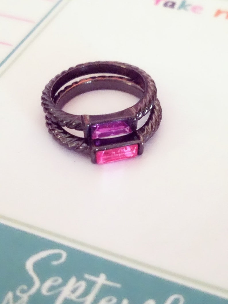 Size 6 Recycled Pink and Purple Stackable Fashion Ring Set for image 0