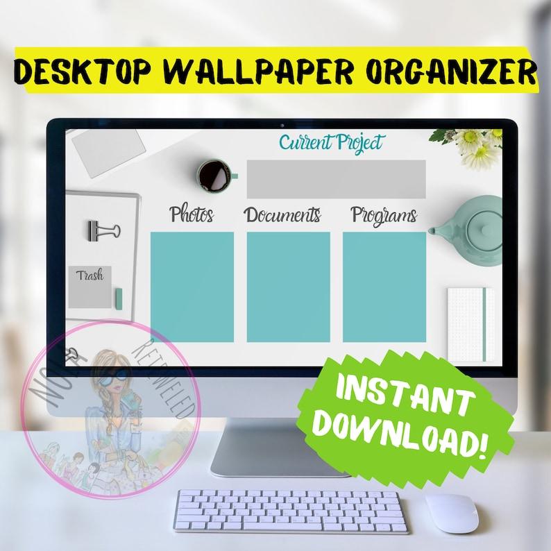 Simple Teal Desktop Organizer Wallpaper Desktop Blogger image 0