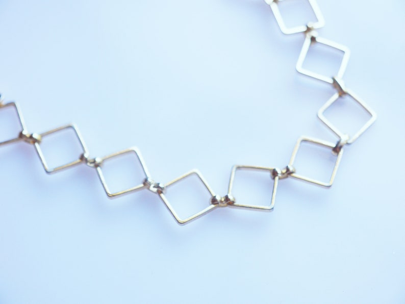 Gold-Toned Recycled Fashion Box Chain Link Choker Style image 0