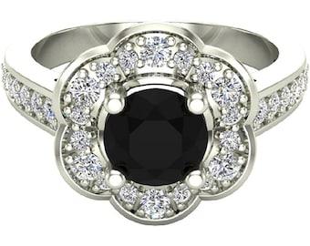 NEW SZ 7 Fashion Flower Black Diamond Halo Wedding Engagement Ring 1.28 Ct (2,507 value)