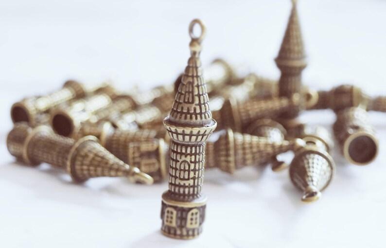 5pc Castle Antique Bronze Retro Pendant Charm For Jewelry image 0