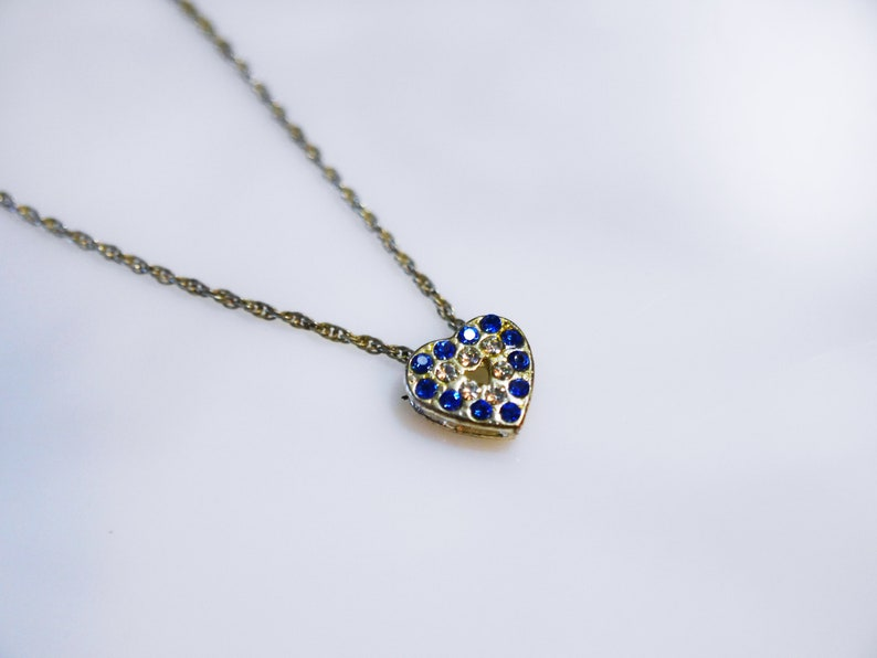 Recycled Blue and White Rhinestone Heart Minimalist Silver image 0