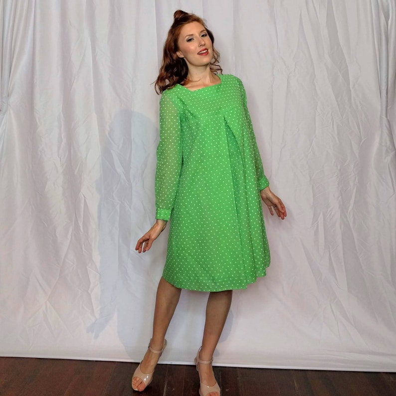 1846c44a54 1960s Mod Green and White Polka Dot Dress a-line tent style