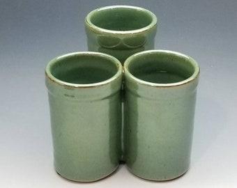 Green Organizer, FREE SHIPPING, Handmade Flatware caddy, Ceramic, Pottery, bathroom, kitchen, desk, Tri-cup design, in 3 colors