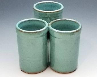 Turquoise Organizer, FREE SHIPPING, desk organizer, kitchen, bathroom, flatware, Handmade Caddy, Pottery, Tri-cup design, colors