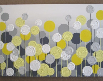 Wall art yellow grey flowers and birds textured acrylic etsy yellow and grey flower art textured acrylic painting on canvas select your size made to order mightylinksfo