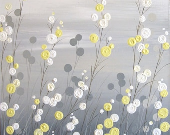 Wall art yellow grey flowers and birds textured acrylic etsy yellow grey whimsical flower field textured acrylic painting on canvas made to order mightylinksfo