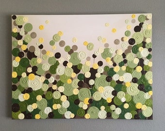 Green Brown and Yellow Modern Circle Painting, custom sizes available