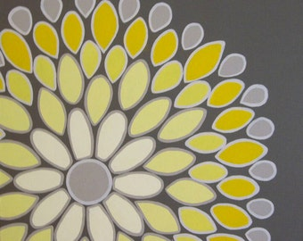 Wall Art, Yellow and Grey Abstract Flower, 20x20 Acrylic Painting on Canvas, MADE TO ORDER