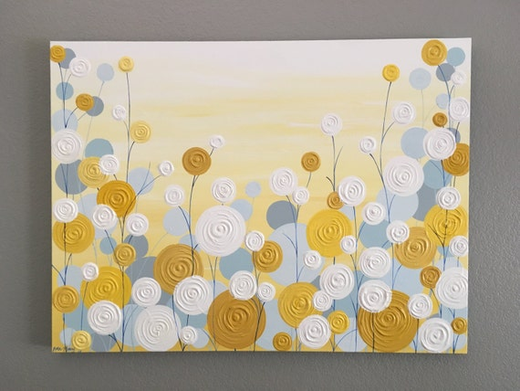Yellow Blue And Grey Wall Art Textured Painting Abstract Etsy