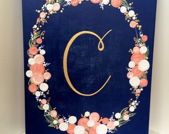 Navy and Coral Flower Wreath Painting with Initials, made to order