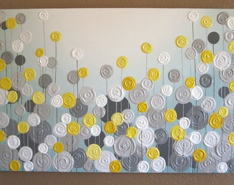 Yellow, Gray, and Aqua Blue Wall Art, Textured Painting, Abstract Flowers, Large Acrylic Painting on Canvas