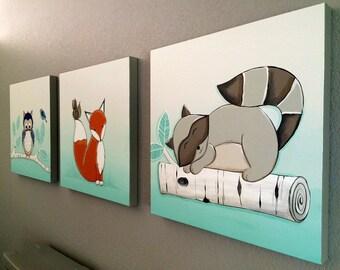 Woodland Animal Nursery Painting Set, 20x60 Owl Fox and Raccoon