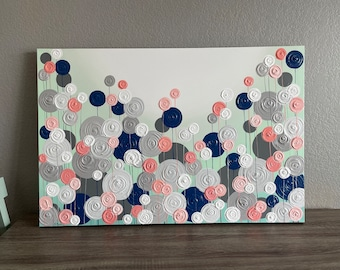Modern Art, 24x36 Mint Green, Coral, Navy Blue and Gray Textured Flower Art, Ready to ship