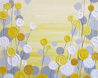 Yellow and Grey Art, Textured, Acrylic Painting on Canvas,  Choose your size