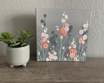 Mint and Coral Floral Art, 8x8 Mint Green and Coral, Textured Flower Art, Ready to ship