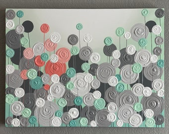 Modern Circle Painting, 18x24 Mint Green and Coral, Textured Flower Art, Ready to ship