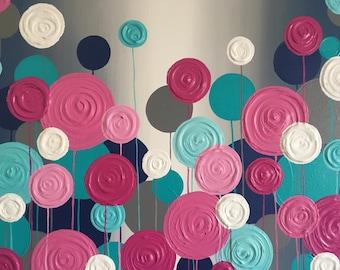Magenta, Teal, and Navy Circle Nursery Art, Textured impasto wall art, made to order