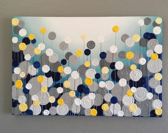Navy Blue, Turquoise, Yellow and Gray Textured Painting, Abstract Flowers, Large Acrylic Painting on Canvas, select a size