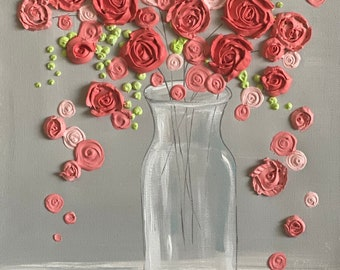 Coral Pink Flower painting, sculpted rose still life, 12x16, ready to ship for Mother's Day gift