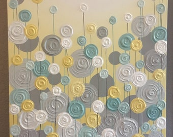 Yellow and Teal Circle Nursery Art, Sculpture flowers wall art, made to order