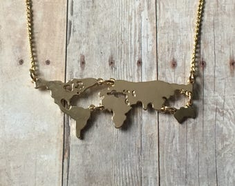 World map necklace etsy quick view world map necklace gumiabroncs Image collections