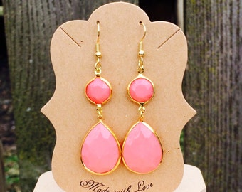 Gorgeous pink drop earrings
