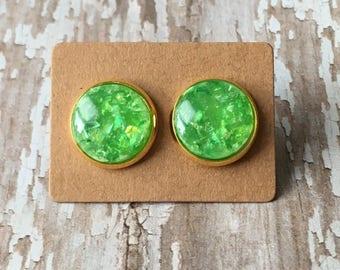 Lime opal studs