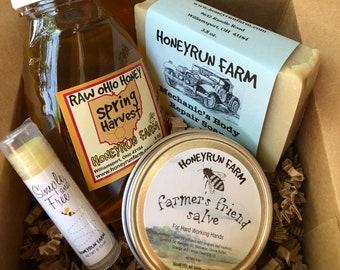 Gift Box - 8 oz Spring Honey, Mechanic's Body Repair Soap, Farmer's Salve, Unflavored Lip Balm
