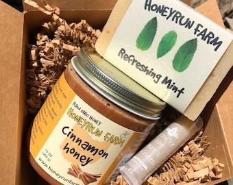 Gift box- Cinnamon honey, mint soap, and vanilla lip balm