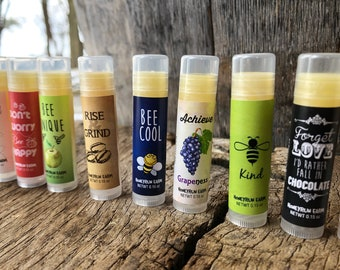 Beeswax Lip Balm- all natural, pick from 12 assorted flavors