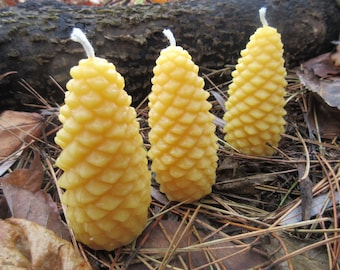 """Pinecone Beeswax Candles - Set of 3 Medium size, 1.5"""" wide"""