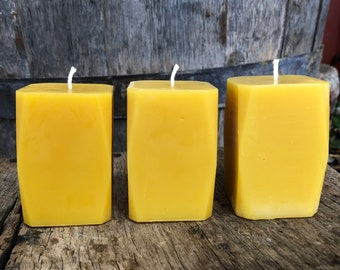 Set of 3 Beeswax Prism Candles- 100% pure beeswax, cotton wick