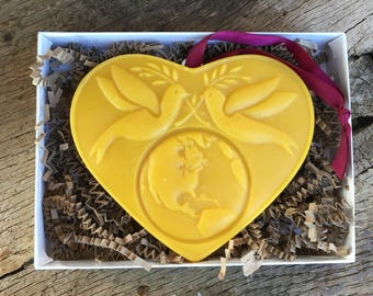 Beeswax Ornament - Peace Doves on Heart - 5 in wide