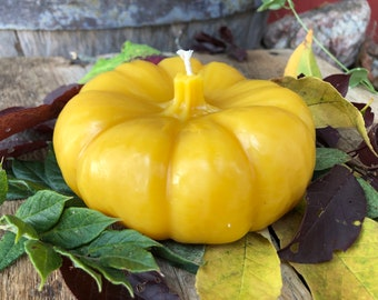 Pumpkin Beeswax Candle - all natural candle, 100% pure beeswax with cotton wick