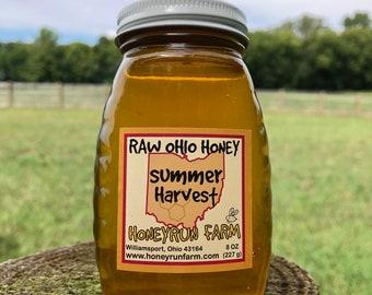 Pure Raw Summer Honey - 8 ounce glass jar