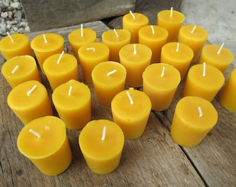 """Beeswax Candles-  Set of 50 votives, 2"""" tall"""