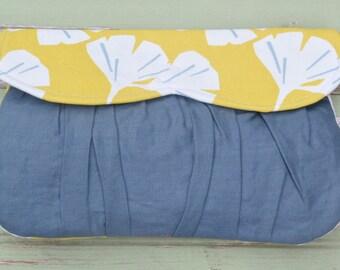 Sweetheart Clutch- Yellow Gingko Leaf & Gray Linen
