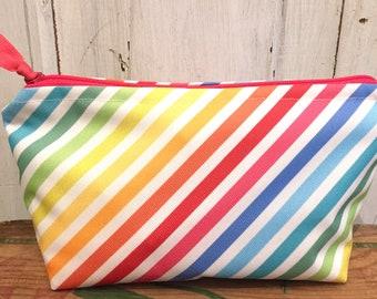 Medium Cosmetic Pouch- Rainbow Stripe