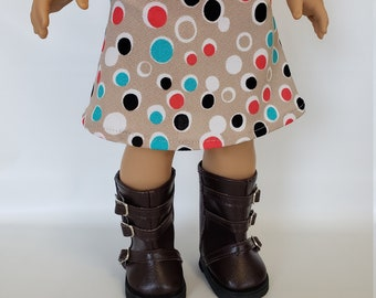 18 inch Doll Clothes fits American Girl; Skirt; Skirt for 18 inch dolls; 18 inch doll clothes; Boots for 18 inch dolls
