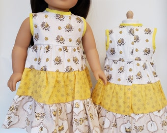 18 inch Doll Clothes fits American Girl; Ruffled Dress with panties; 18 inch doll sandals